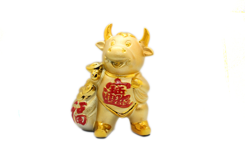 "10"" Gold Ceramic Ox Money Box"